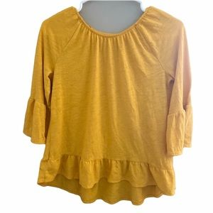 ✨3 for $30✨Girl's Yellow Bell Sleeved Top! Size L